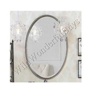 Silver Beveled Oval Bathroom Wall Mirror Beaded Edge