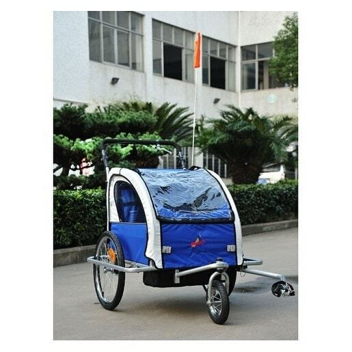 Aosom Elite II 3 in 1 Double Child Baby Bike Trailer and Blue