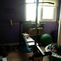 Bench with leg lift and 200 lbs of weight