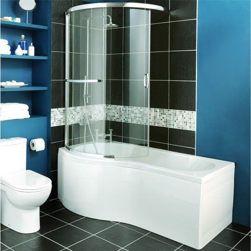 New Wickes White Bath Suite Chrome Waterfall Taps Mixer Shower 39 P 39 Bath Curved Shower