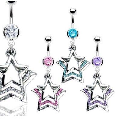 CZ TRIPLE STAR BELLY NAVEL RING PAVED GEMS DANGLE B492 BUTTON PIERCING (Dangling Star Navel Ring)
