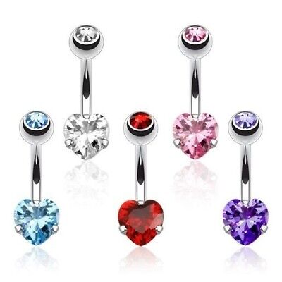 DOUBLE GEM SEXY BLING HEART BELLY NAVEL RING PRONG CZ BUTTON PIERCING JEWEL B752 (Sexy Navel Ringe)