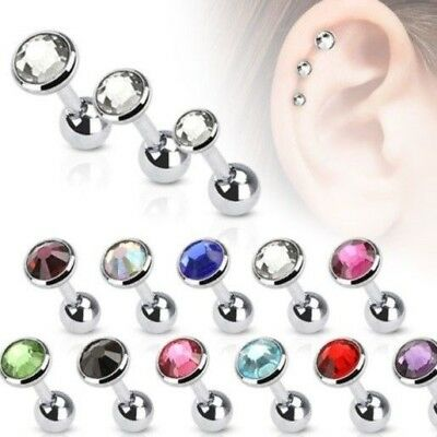 - FLAT PRESS FIT CZ GEM BARBELL CARTILAGE TRAGUS PIERCING RING BAR 16G 1/4