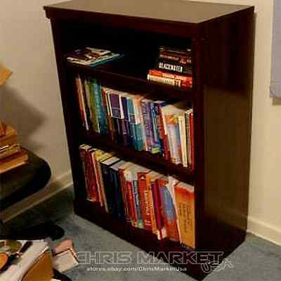 Storage 3 Shelf Bookcase Adjustable Book Shelves Home Furniture Cherry NEW