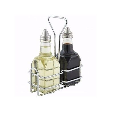 Winco G-104s Oil And Vinegar Cruet Set With Rack And Two 6 Oz. Bottles