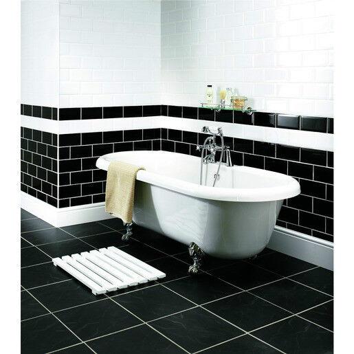 Pack Of 42 Wickes Bevelled Edge Black Gloss Ceramic Wall Tiles