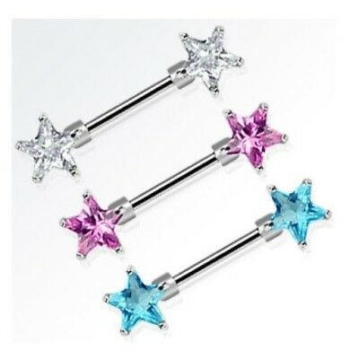 DOUBLE GEM PRONG STAR NIPPLE SHIELD COVER RINGS BODY PIERCING BARS 14G 9/16