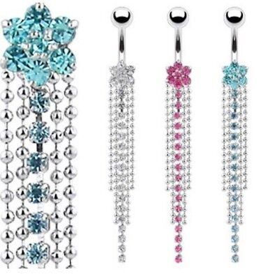 7-GEM FLOWER BELLY NAVEL RING CRYSTAL CHAIN DANGLE BUTTON PIERCING JEWELRY B412
