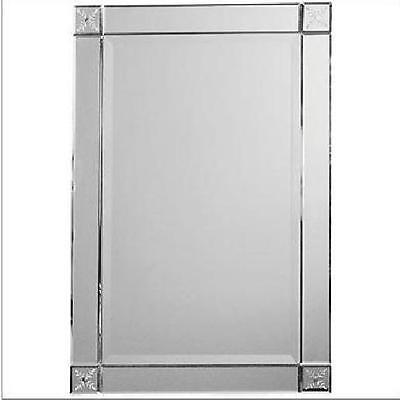 "Frameless Wall Mirror 31""H Etched Corners Venetian Foyer Rectangle Neiman Marcus"