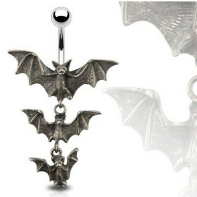 3 DANGLING VAMPIRE BATS BELLY RING GOTHIC NAVEL BUTTON PIERCING JEWELRY B149 Bat Dangle Belly Ring