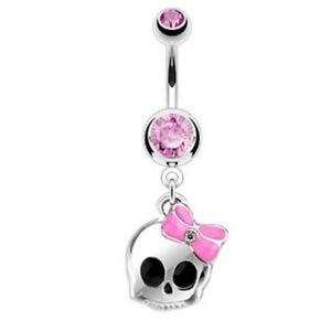 PINK GEM SKULL & BOW BELLY NAVEL RING FANCY DANGLE BUTTON PIERCING JEWELRY B631
