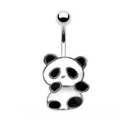 PANDA BEAR BELLY NAVEL RING CUTE DANGLE BLACK/WHITE BUTTON PIERCING JEWELRY B422 ()
