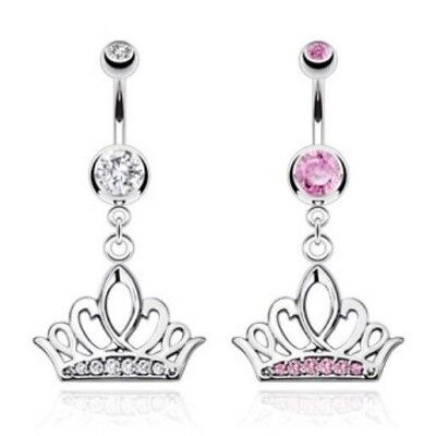 GEM PAVED PRETTY CROWN BELLY NAVEL RING DANGLE CZ BUTTON PIERCING JEWELRY -