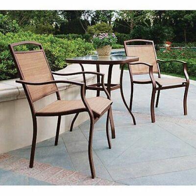 3 Piece Outdoor high patio chair & glass table Set bar stool durable frame Tan