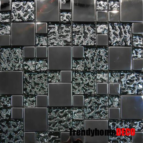 Stainless Steel Pattern Gray Glass Mosaic Tile: 10SF- Stainless Steel Pattern Textured Glass Mosaic Tile