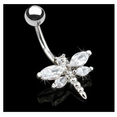 SPARKLING CZ GEM DRAGONFLY BELLY RING NAVEL BUTTON PIERCING -