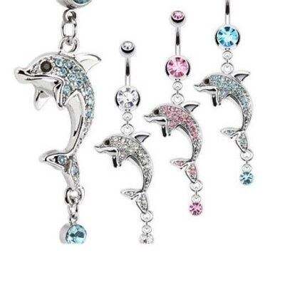 GEM PAVED STEEL DOLPHIN BELLY NAVEL RING DANGLE CZ BUTTON PIERCING JEWELRY B704