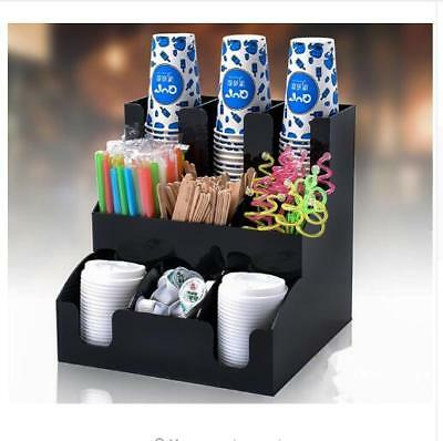 New Cup Lid Dispenser Organizer Coffee Condiment Holder Caddy Coffee Cup Rack