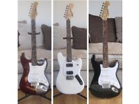 3 Electric Guitars, All Unmarked, Play Well And Are Like New.