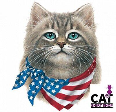 Cat with American Flag Bandana Shirt ~ Patriotic , 4th of July ~ Small - (Cat With American Flag)