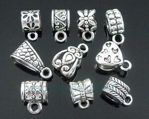 Free-Ship-50-Mixed-Tibetan-Silver-Bails-Beads-Fit-European-Charm-Bracelet-ZY08