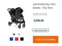 Joie Evalite Duo Double Pushchair in Two