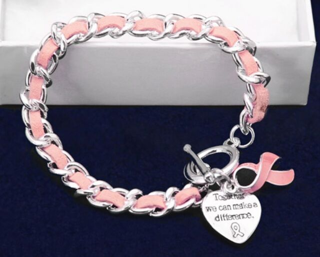 #9035 -- PINK AWARENESS RIBBON HEART CHARM CHAIN SUEDE BRACELET
