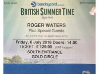 2 tickets, Roger Waters, GOLD CIRCLE, Jul 6th @ BST Hyde Park