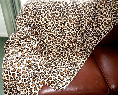 THROW BROWN LEOPARD PRINT NEW Fleece Soft Warm Snug Sofa blanket washable 3sizes Brown Leopard Fleece