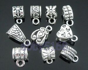 FreeShip 50 Tibetan Silver Mix Bails Beads Fit Charm Bracelet ZN08