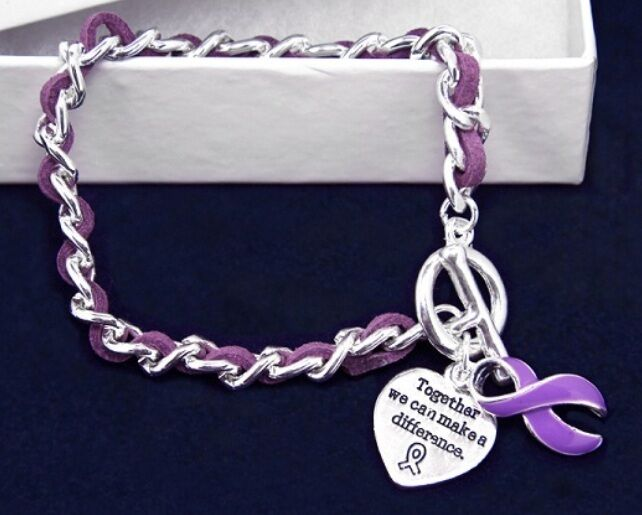 #9069 -- PURPLE AWARENESS RIBBON HEART CHARM SUEDE WEAVED CHAIN BRACELET -WOW!
