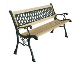 Garden Bench Wooden 3 Seater Cast Iron Frame Lattice Style New In Box