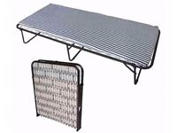 Metal Folding Bed With Mattress Black White Stripe - hardly used ideal for guests