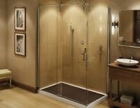 porte de douche en verre (installation