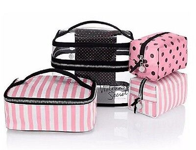 Victoria's Secret Train Case Cosmetic Makeup Bags 4 piece Travel Case 19.5.4842