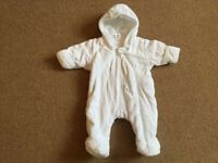 Warm, New baby pram suit with inbuilt mittens - From Next: £10