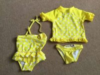 Swimming costume, swimming top, swimming knickers (size 0 - up to 1 year) -£5