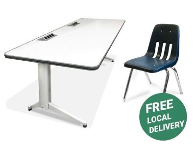 Two Pieces Home Office Set White Powered Folding Desk + Virco Chair L-shaped Home Office Set
