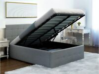Ottoman Grey Double Bed Fabric Gas Lift Storage