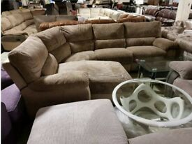 Brown jumbo cord corner sofa chaise
