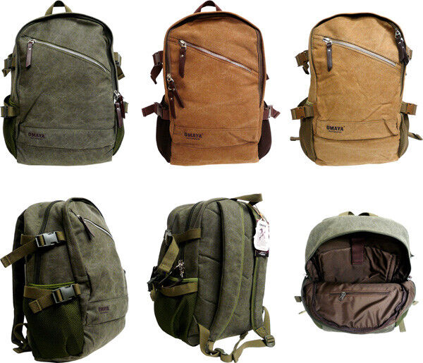"18"" Canvas Sport Rucksack Camping School Satchel Laptop Hiki"
