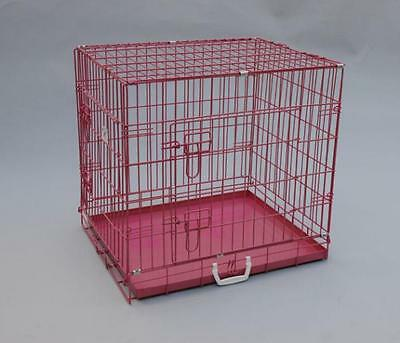 "BestPet 24""Pink Pet Folding Suitcase Dog Cat Crate Cage Kennel Pen with ABS Tray"