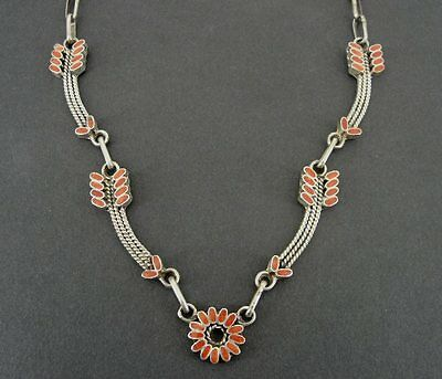 Vintage Arrows with Flowers Coral Stone Inlays Sterling 925 Silver Necklace