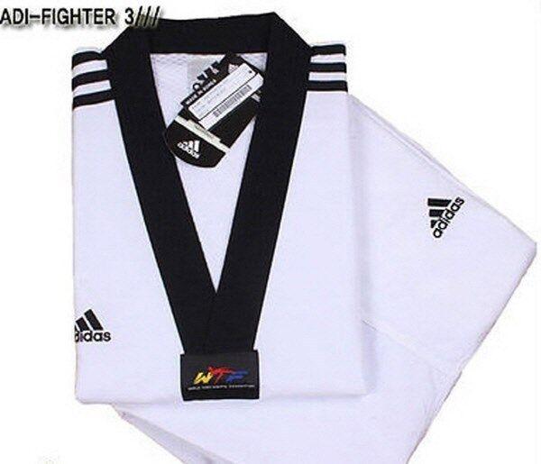 Adidas ADI-FIGHTER NEW 3-STRIPE Taekwondo Uniform (Dobok) Tae Kwon Do TKD