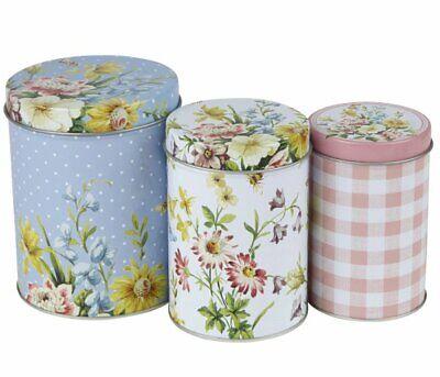 Katie Alice ENGLISH GARDEN Floral STORAGE TINS Set of 3 Tea Coffee Sugar