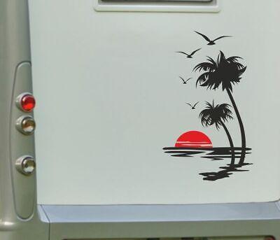 Aufkleber Wohnwagen Wohnmobil Caravan Camper Auto Palme Sonne Strand 2farbig 179 gebraucht kaufen  Kempten