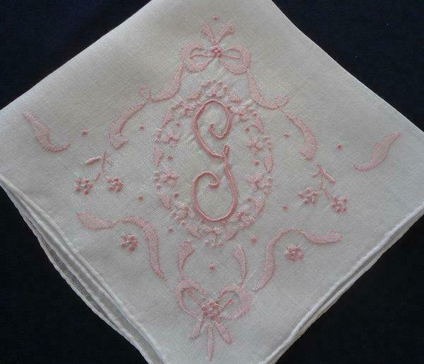 Vintage Madeira Pink Wedding Hanky Monogram G Flowers Bows Embroidery