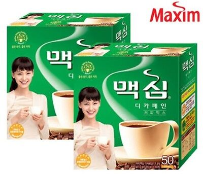 Korean Instant Maxim Decaf Coffee Mix Collection 100T (50Sticks X 2Packs)