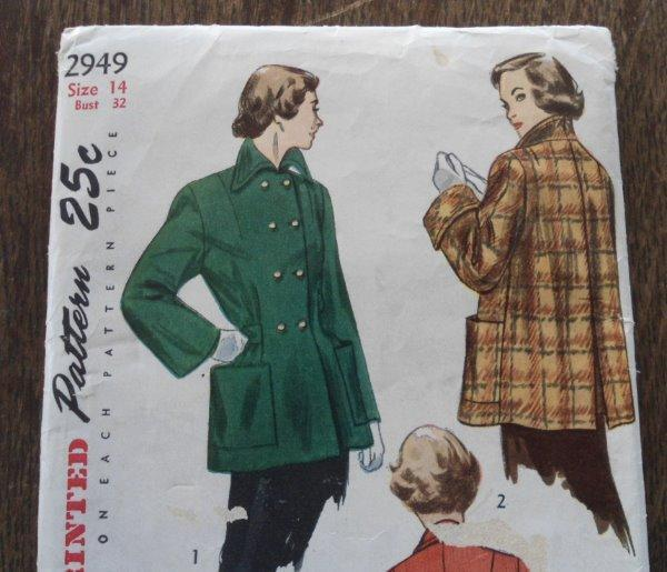 UC Vintage 40s Simplicity #2949 Coat Jacket Gathered Back Sewing Pattern 14