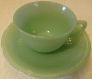 Fire-King Alice Jade Cup and Saucer Set